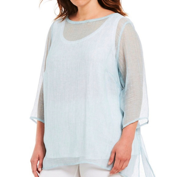 28d289bd51 Eileen Fisher Tops - Eileen Fisher Organic Linen Mesh Bateau Neck Tunic